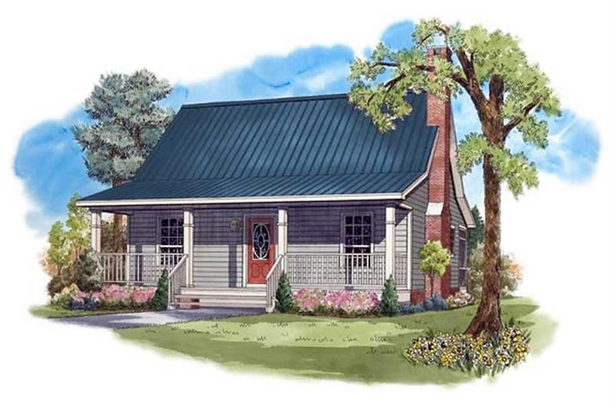 Color rendering of Bungalow home plan (ThePlanCollection: House Plan #141-1208)
