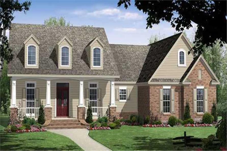 Front elevation of Country home (ThePlanCollection: House Plan #141-1211)