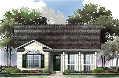 2-Bedroom, 1000 Sq Ft Country House Plan - 141-1230 - Front Exterior