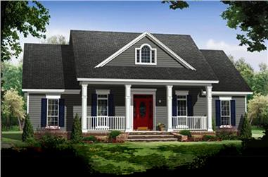 Color rendering of Country home plan (ThePlanCollection: House Plan #141-1243)