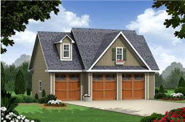 1-Bedroom, 644 Sq Ft Craftsman House Plan - 141-1251 - Front Exterior