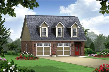 1-Bedroom, 979 Sq Ft Country House Plan - 141-1252 - Front Exterior