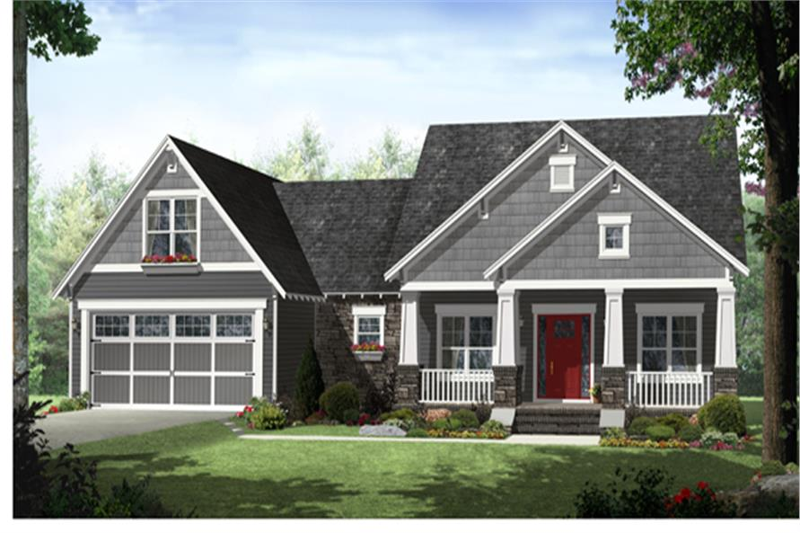 Front elevation of Craftsman home (ThePlanCollection: House Plan #141-1276)