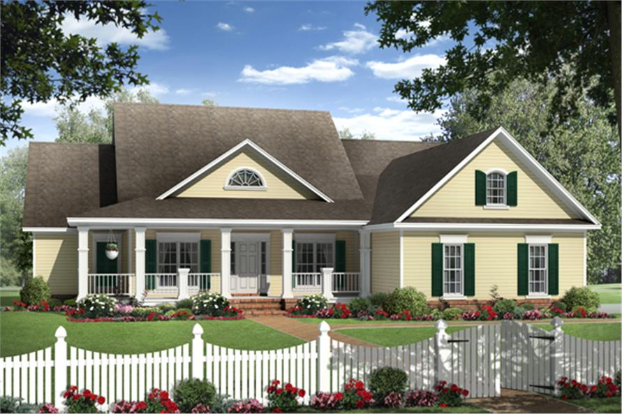 Front elevation of Country home (ThePlanCollection: House Plan #141-1278)