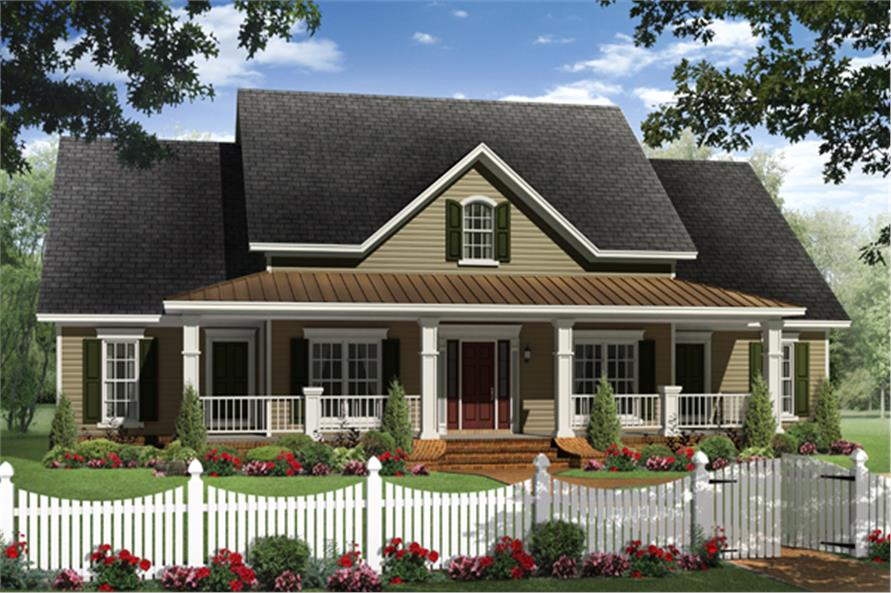 Front elevation of Country home (ThePlanCollection: House Plan #141-1284)