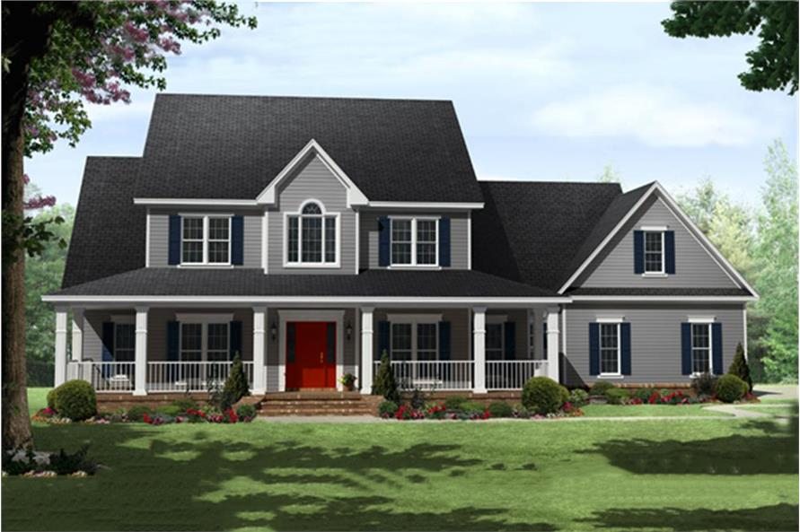 Color rendering of Country home plan (ThePlanCollection: House Plan #141-1287)