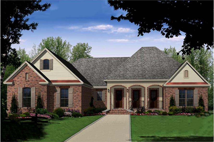 Color rendering of Country home plan (ThePlanCollection: House Plan #141-1289)