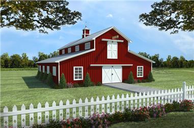 1-Bedroom, 3099 Sq Ft Barndominium Plan - 141-1300 - Main Exterior