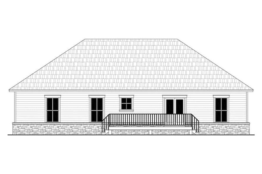 Home Plan Rear Elevation of this 3-Bedroom,1600 Sq Ft Plan -141-1316