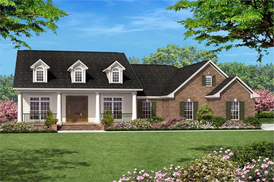 Front elevation of Country home (ThePlanCollection: House Plan #142-1010)