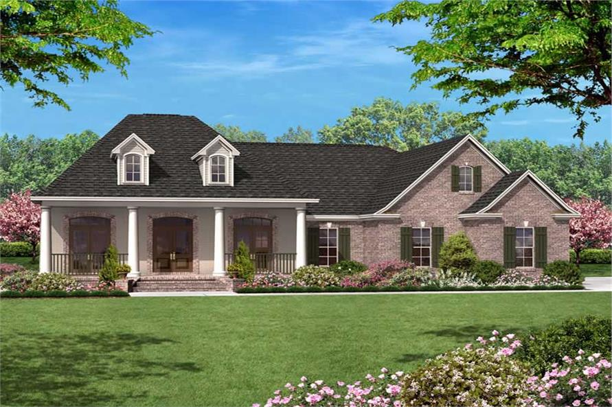 Front elevation of European home (ThePlanCollection: House Plan #142-1011)