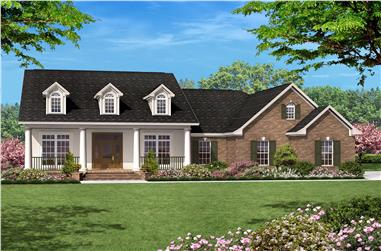 3-Bedroom, 1500 Sq Ft Country Ranch Plan - 142-1013 - Front Exterior