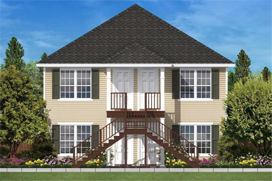 This is a computerized front rendering of these Multi-Unit Home Plans.