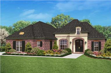 Color rendering of Country home plan (ThePlanCollection: House Plan #142-1023)
