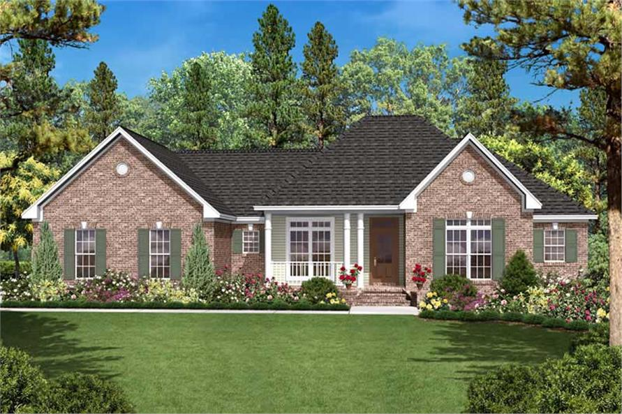 Front elevation of Country home (ThePlanCollection: House Plan #142-1024)
