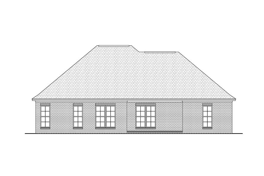 142-1033: Home Plan Rear Elevation