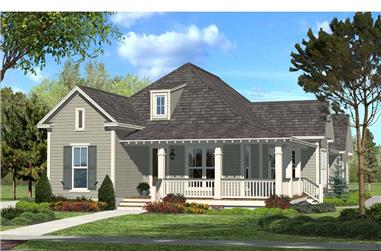 3-Bedroom, 1900 Sq Ft Country Ranch House Plan - 142-1048 - Front Exterior