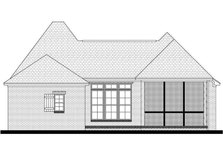 142-1077: Home Plan Rear Elevation