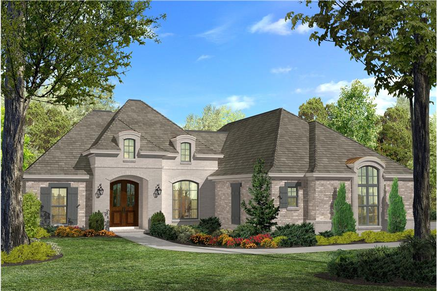 Front elevation of Acadian home (ThePlanCollection: House Plan #142-1124)