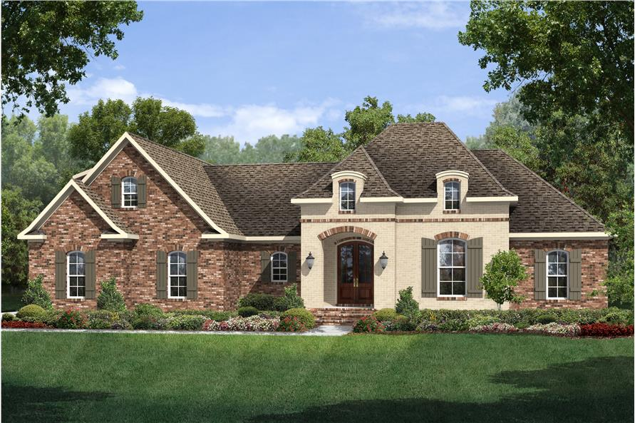 Front elevation of European home (ThePlanCollection: House Plan #142-1126)
