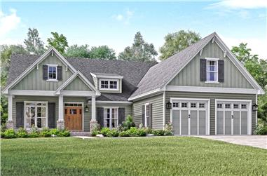 3-Bedroom, 2004 Sq Ft Country House Plan - 142-1158 - Front Exterior