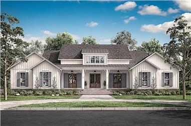 4-Bedroom, 3076 Sq Ft Ranch House - Plan #142-1216 - Front Exterior