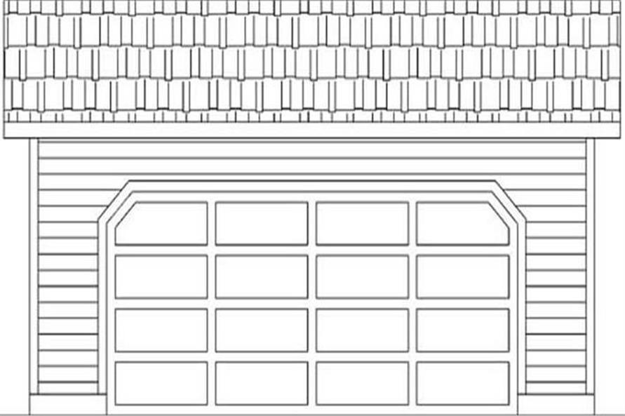 Black and white rendering of Garage plan (ThePlanCollection: House Plan #145-1505)