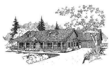 4-Bedroom, 2533 Sq Ft Country Home Plan - 145-1574 - Main Exterior