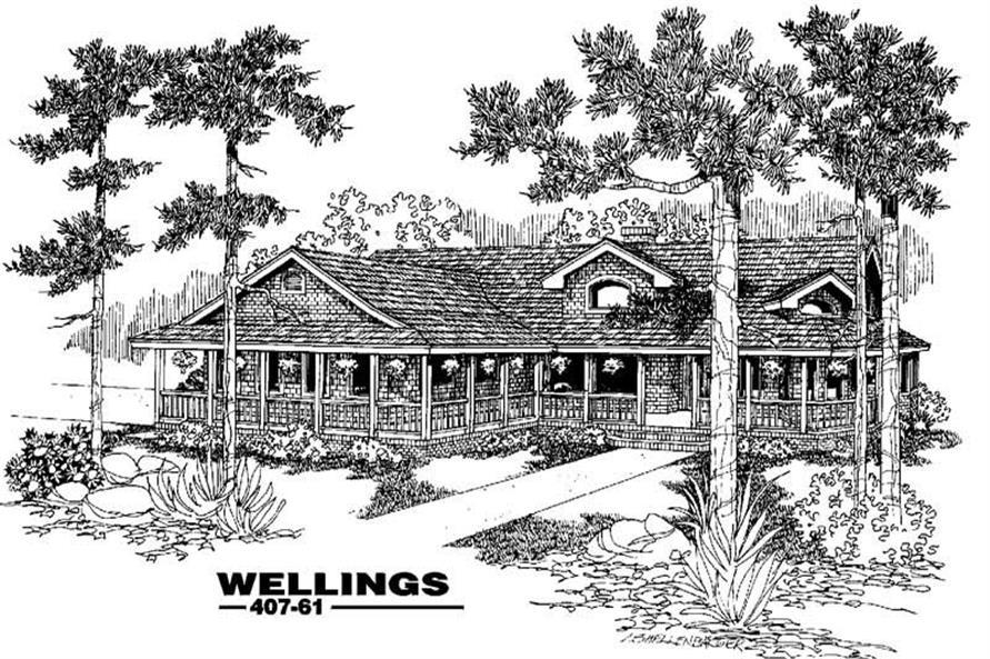 Ranch home plans Wellings rendering.