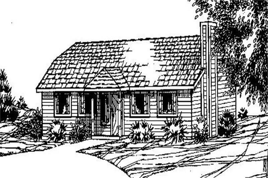 Front elevation of Ranch home (ThePlanCollection: House Plan #145-1697)
