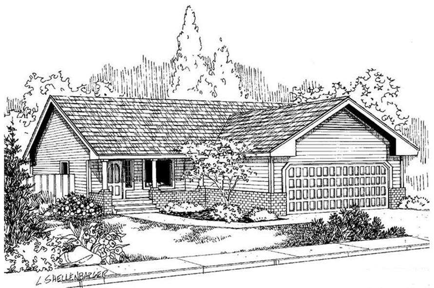 Rendering of Country home plan (ThePlanCollection: House Plan #145-1978)