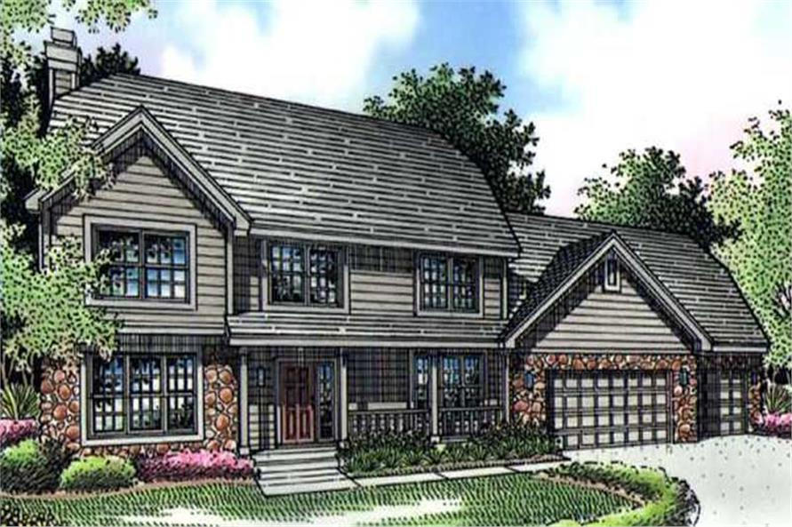 This image shows the colored front elevation of Farmhouse Houseplans LS-B-95020.