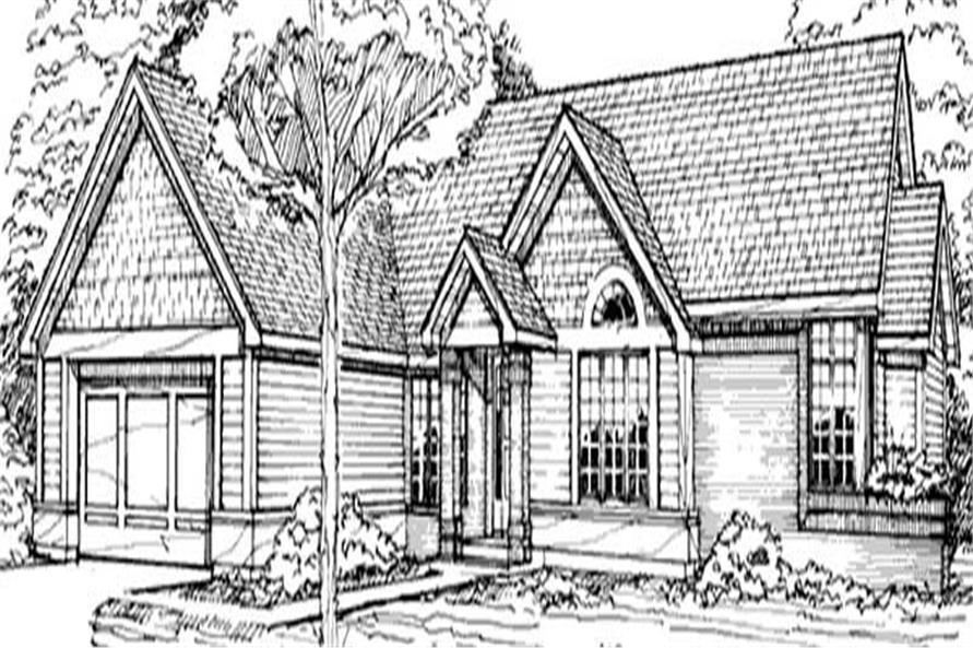 This image shows the Country/Traditional/Ranch Style of this set of houes plans.