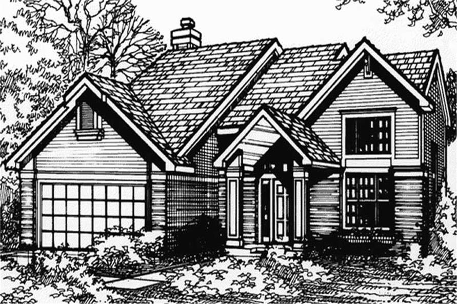 Country Homeplans LS-B-90045 front elevation.