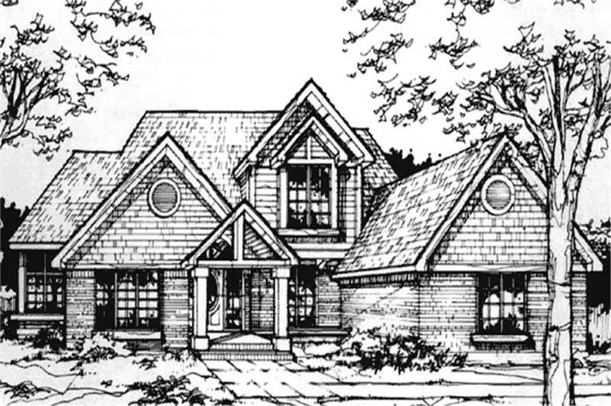 This image shows the Country/1-1/2 Story Style of this set of house plans.