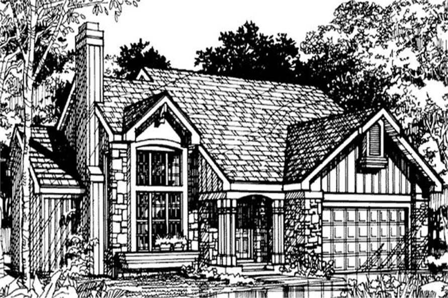 Front Elevation of Country House Plans LS-B-90053.