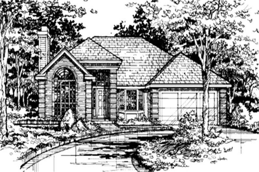 This image shows the front elevation of these Country Houseplans (LS-B-91015).