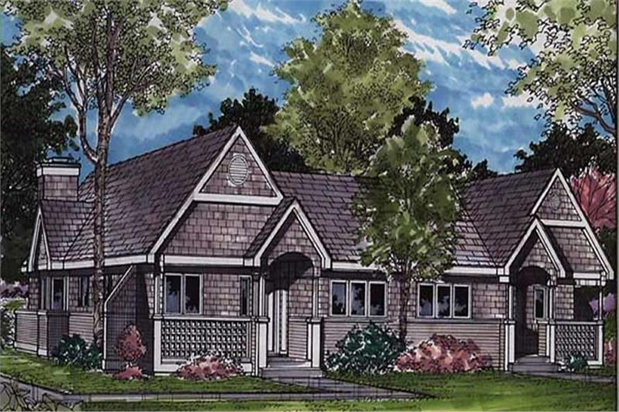 Country Houseplans LS-B-91009 colored front elevation rendering.