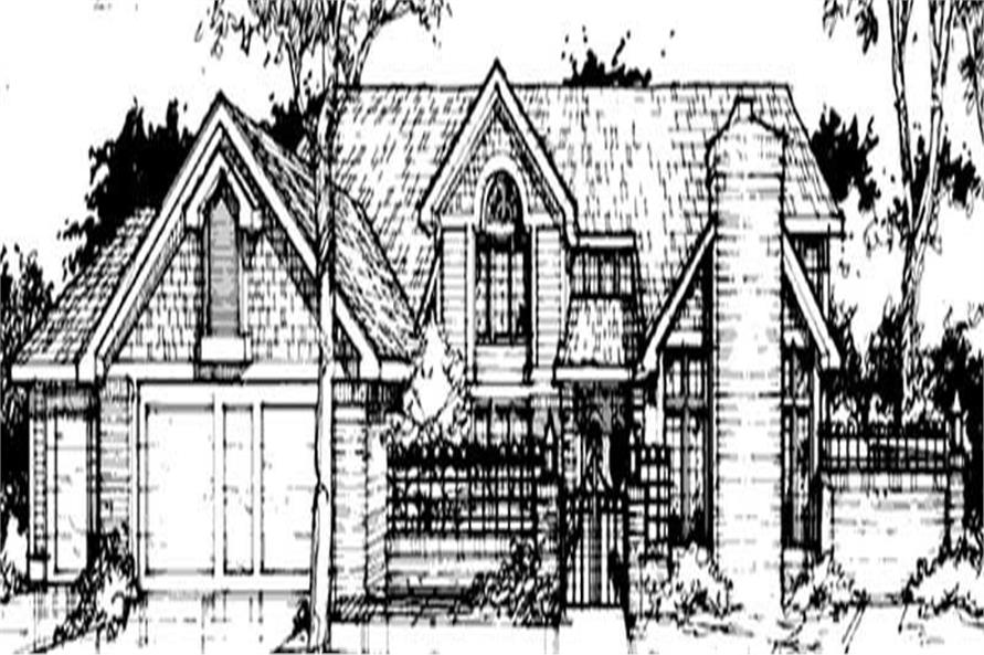 French house plans front elevation rendering.