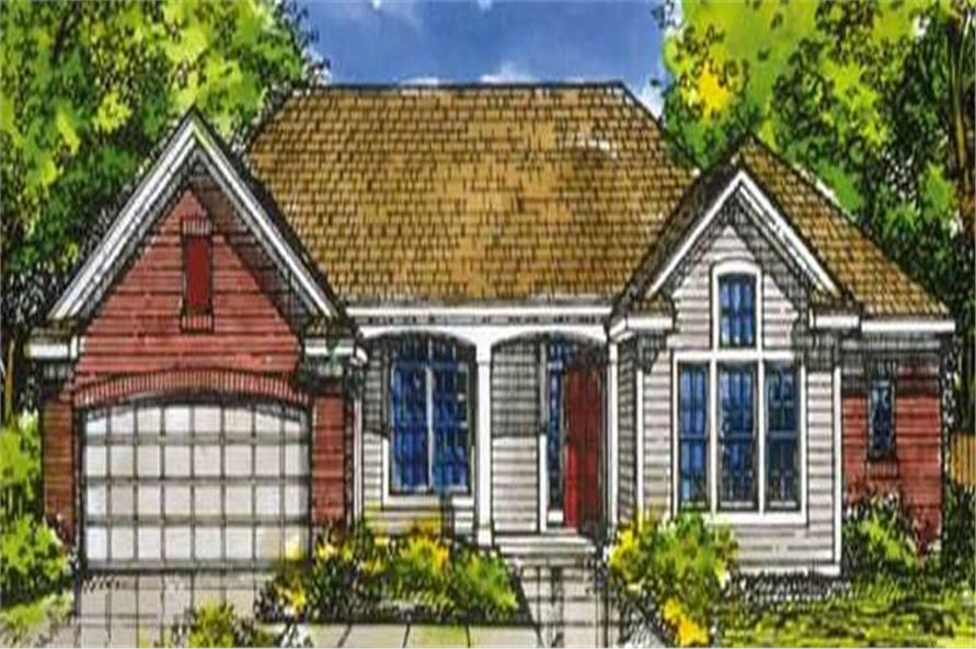 Country House Plans LS-B-92003 colored rendering.