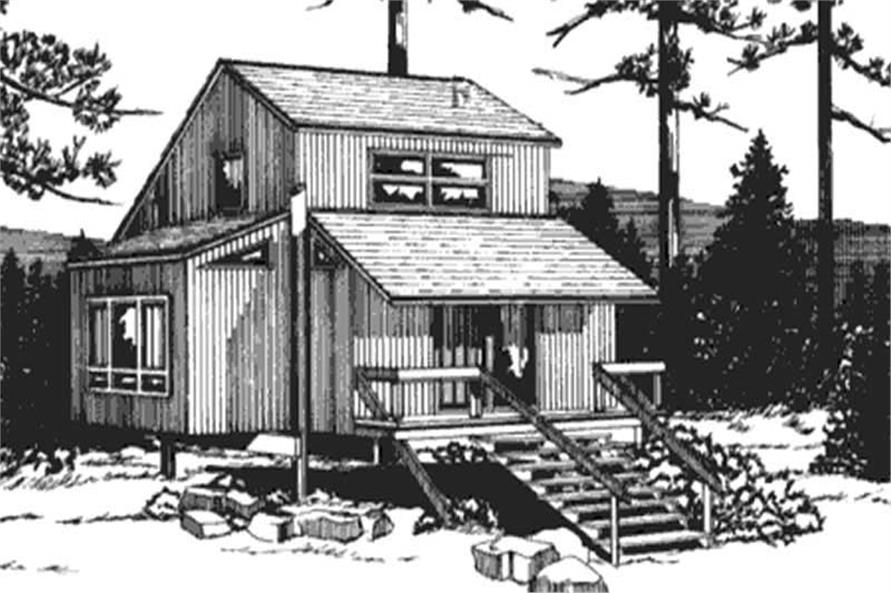 This is the front elevation of Vacation Houseplans LS-H-21C.
