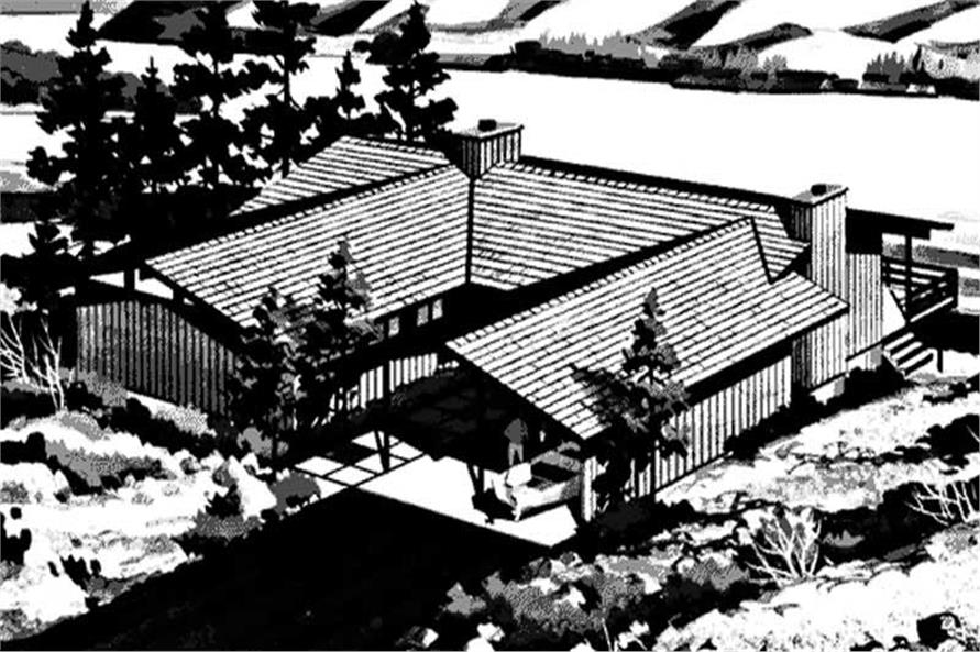 This is a black and white rendering of Vacation House Plans LS-H-867-1.
