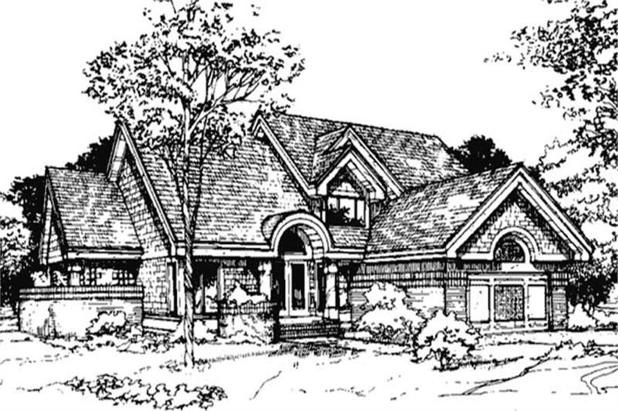 Country Homeplans LS-B-89049 Front Elevation.