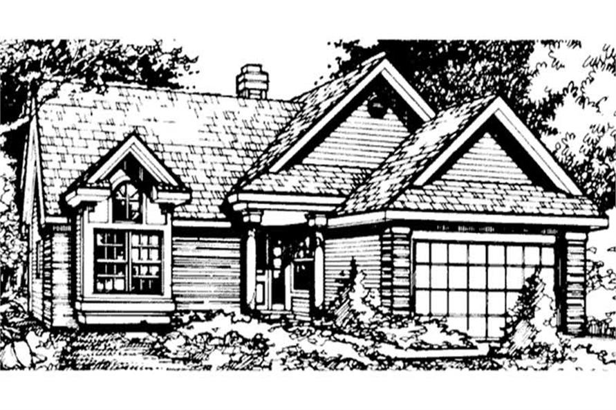 Country Houseplans LS-B-90042 front elevation.
