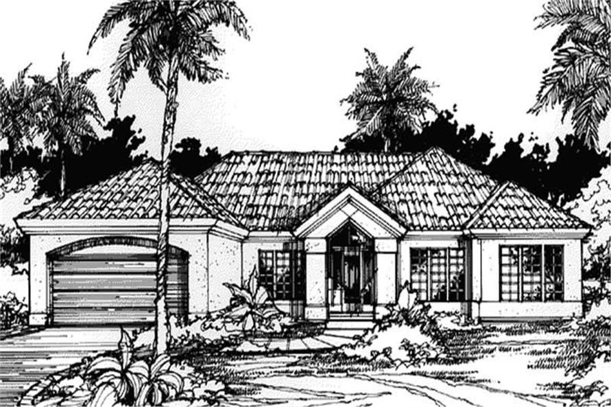 Front elevation image of Mediterranean Home Plans.