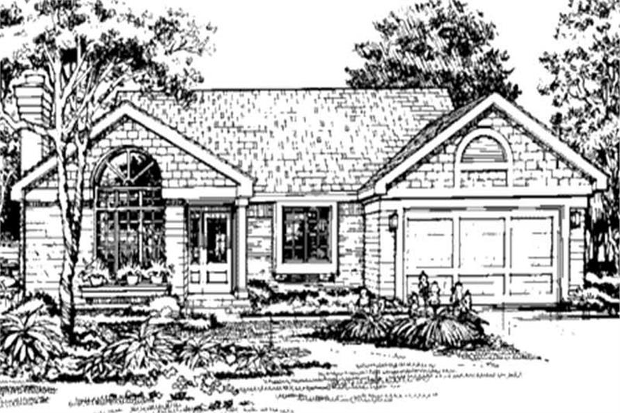 Ranch Homeplans LS-B-90008 Front Elevation Image.