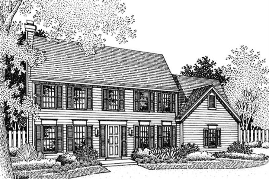 This shows the front elevation of Colonial Houseplans LS-B-95014.