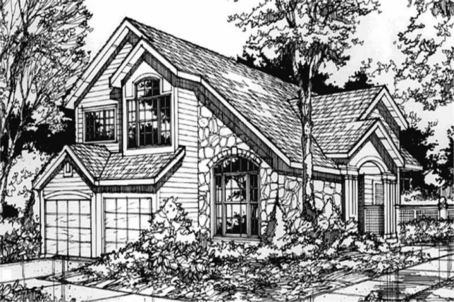 This image shows the front elevation of Country Homeplans LS-B-89071.