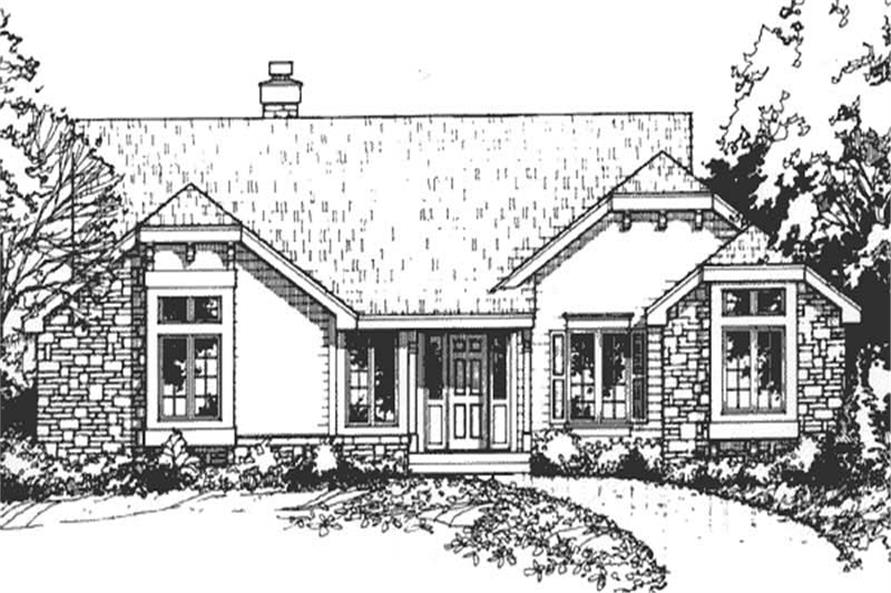 Front Elevation for Country/Bungalow Homeplans.