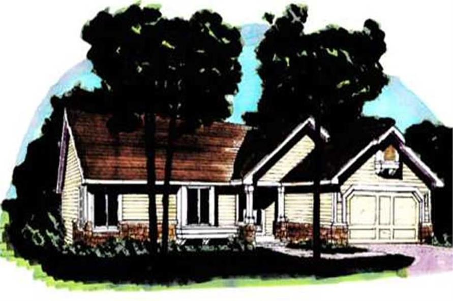 This image shows the Country/Ranch Style of this set of house plans